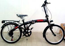 """Bicicletta pieghevole """"Folding"""" Nero-Rossa - Ruota 20"""" - cambio 6 Velocità"""