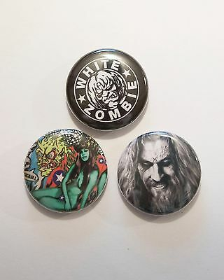 """3 1"""" White Zombie Rob Sheri Astrocreep Living Dead Girl - pinback badges buttons"""