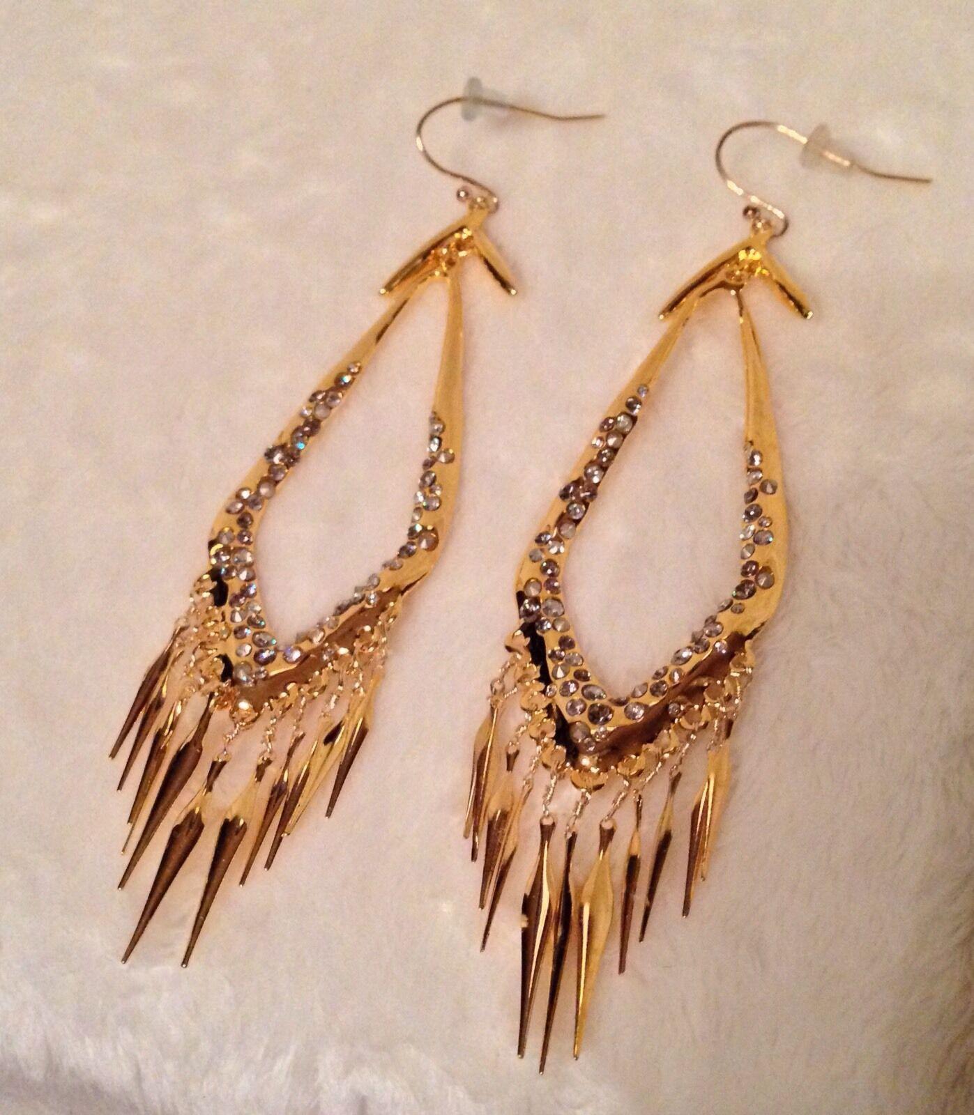 Alexis Bittar goldTone FRINGE Earrings White Swarovski Crystal Pierced Wires 4
