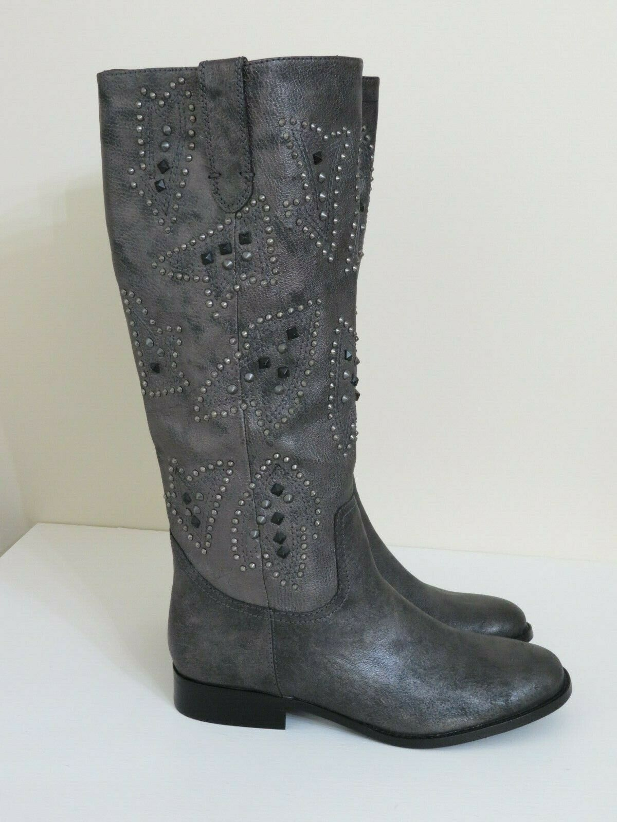 FRYE & CO DISTRESSED PEWTER LEATHER STUDDED PULL ON TALL BOOTS PHOENIX 7.5