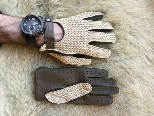 Homme Conduite Gant marron daim cuir Crochet Top