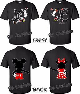 8fccde0d93d LOVE Front   Back Mickey Minnie Mouse Cute Matching Couples T-Shirts ...