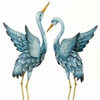 Blue Heron Metal Garden Sculpture 2pc Set Crane Bird Backyard Patio Decor Art