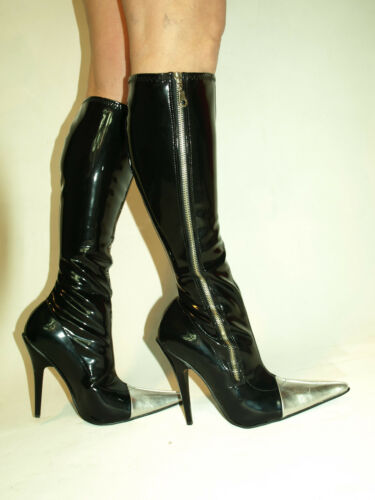 POLAND fs1228 PRODUCER BLACK   PATENT LEATHER HIGH BOOTS  SIZE 5-16 HEELS-5,5/'