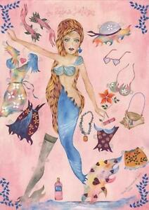 MERMAID NEW YORK NAUTICAL FASHION MODEL PIN UP PAPER DOLL BATHING SUIT PAINTING