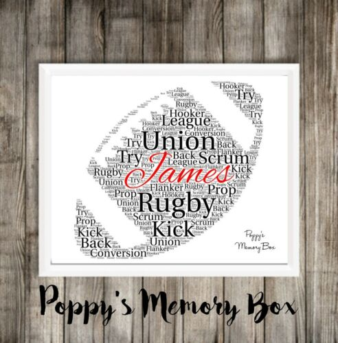 Personalised Rugby Ball Christmas Birthday Word Art Gift Print Father/'s Day