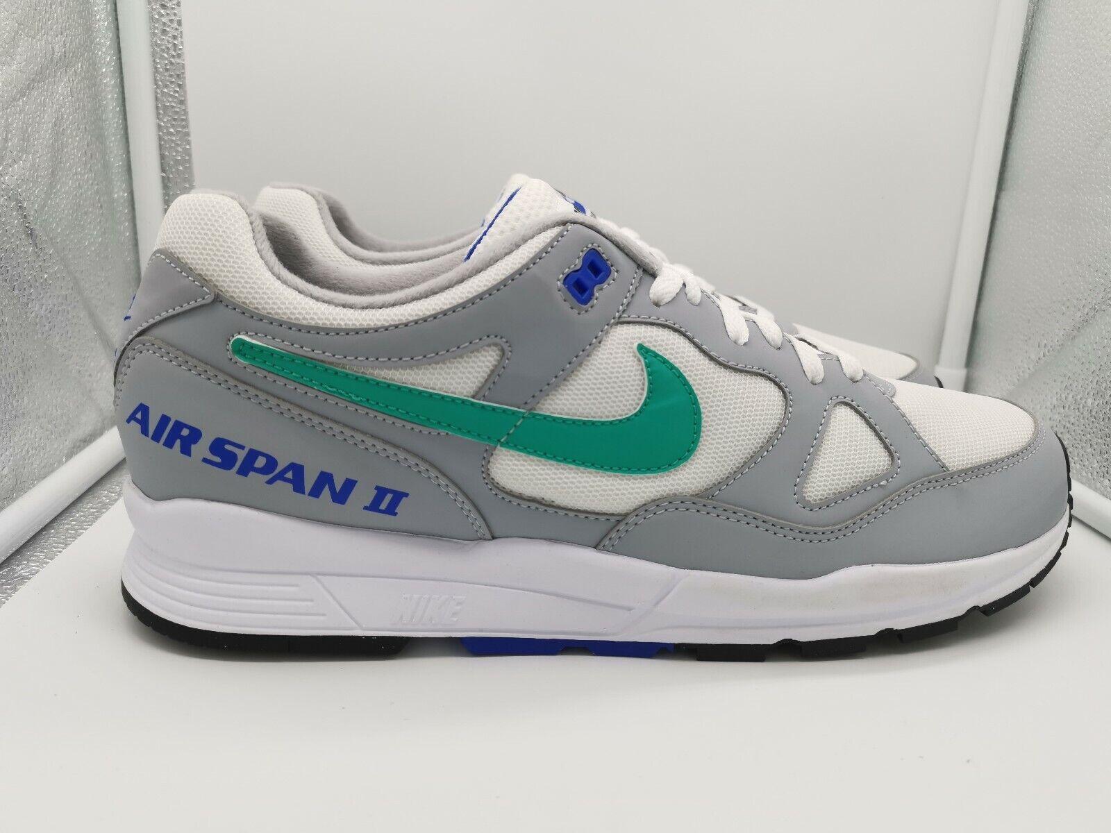 Nike Air Span 2 II UK 12 Wolf grau Clear Emerald Weiß AH8047-012