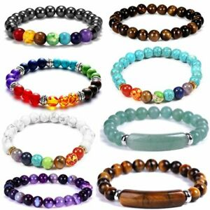 7 Chakra Natural Stone Bracelet Healing Reiki Beads Bangle Prayer Women Jewelry