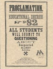 Harry Potter Proclamation Number 82 Flyer/Poster Prop/Replica