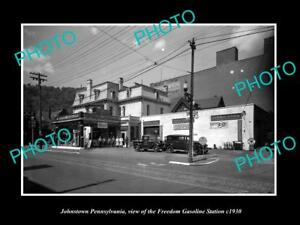 OLD-LARGE-HISTORIC-PHOTO-OF-JOHNSTOWN-PENNSYLVANIA-THE-FREEDOM-GAS-STATION-1930