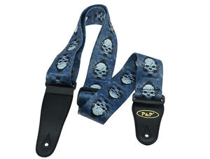2-034-Soft-Polyester-Acoustic-Electric-Guitar-Bass-Adjustable-Strap-Blue-with-Skull