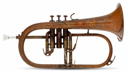 B-WARE B Flügelhorn antik Vintage lackiert Mundstück Gigbag Zubehör Leichtkoffer