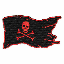 Embroidered Pirate Flag Skull Cross Bones Red Black Iron on Sew on Biker Patch