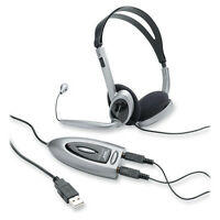 Compucessory Headset W/usb Adapter Led Indicator 3.5mm Jack Black/silver 55257 on sale