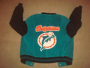 Jacket NFL Miami Dolphins Vintage G-III Men Suede Leather Large L ... 247cdd828