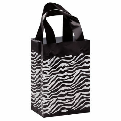 """Plastic Shopping Bags 100 Frosted Leopard Cheetah Gift Small Frosty 5/"""" x 3/"""" x 7/"""""""