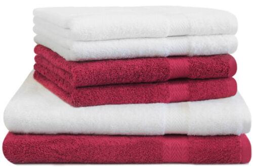 Betz 6er Handtuch Set PREMIUM 2 Duschtücher 4 Handtücher 100/% BW weiß rot