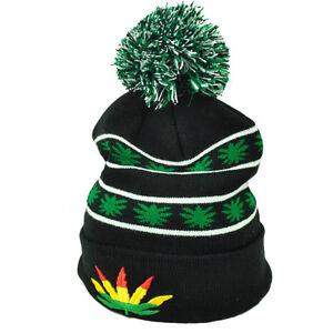Marijuana Black Pom Pom Knit Beanie Cuffed Ganja Rastafari Leaf Weed ... 4fc99f29ad97