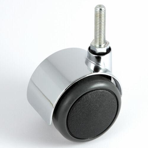 Möbelrolle 50 mm Gewinde M8 x 30 Hartbodenrolle Chrom ohne Bremse Lenkrolle