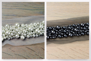 Deluxe Heavy Multi Sized Pearl Bead Couture Bridal Lace Trimming per metre ...
