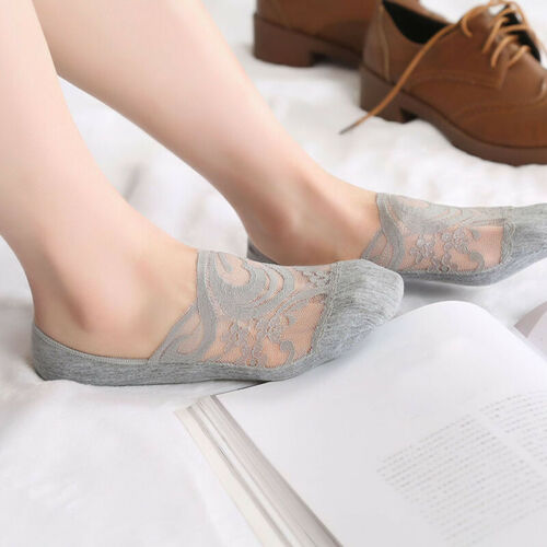 Women Lace Anti-skid Invisible Liner Low Cut Socks Boat Sock Summer G