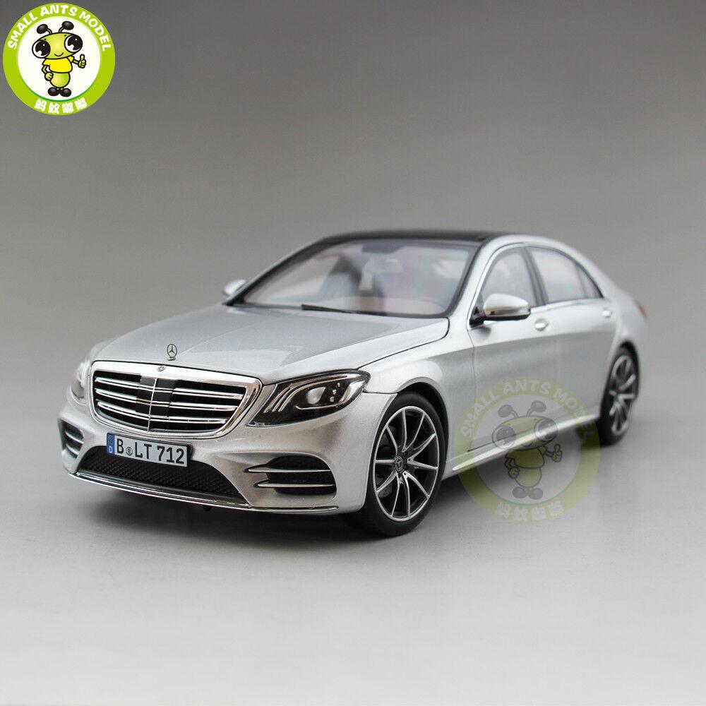 1 18 Norev Mercedes Bens klass S600 AMG Line 2018 Diecast modell Car silver