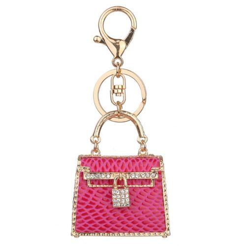 Crystal Rhinestone Handbag Charm Pendant Keychain Bag Keyring Key Chain heart