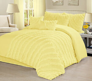 7 Piece Hillary Bed In A Bag Ruffled Stripes Luxury Ruched