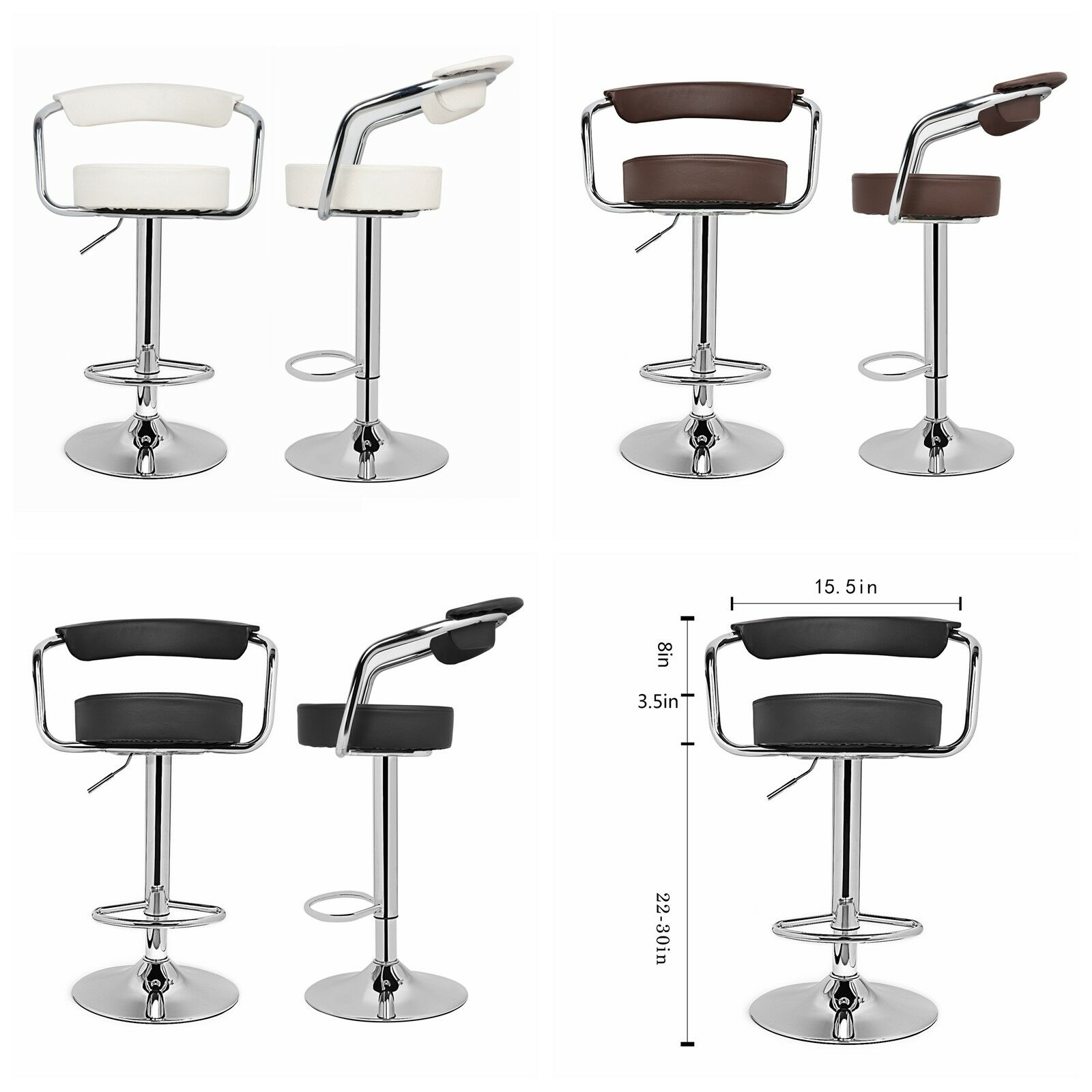 Curved Back Adjustable Swivel Dinning Counter Bar Stools