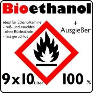 Kamin Alkohol 90 liter 9 x 10 l aktion bioethanol 100 bio alkohol kamin ethanol
