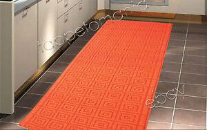 Tappeto da cucina arancione lavabile in lavatrice antiscivolo