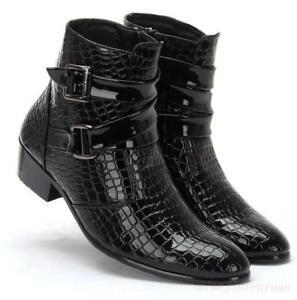 Details zu 2018 Herren Snakeskin Schuhe Schnalle Spitze Lederstiefel Chelsea Ankle Boots