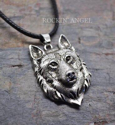 Ladies Mens Viking Norse Wildlife Antique Silver Plt 3D Wolf Pendant Necklace