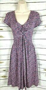 Garnet Hill Teal Floral Print Knit Dress Twist Womens 6