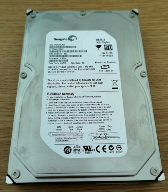 Seagate 300GB Desktop PC CCTV Internal Hard Drive HDD SATA 7200 3.5 ST3300820SCE