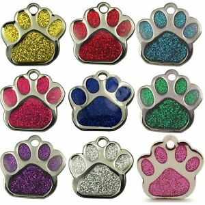 Pet-ID-Tag-Tags-Quality-27mm-Reflective-Glitter-Dog-Paw-Design-ENGRAVED-FREE