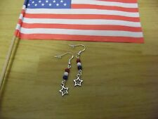 """NEW"" TIBETAN SILVER 4TH OF JULY STAR EARRINGS, SS HOOKS, PRETTY GLASS BEADS"