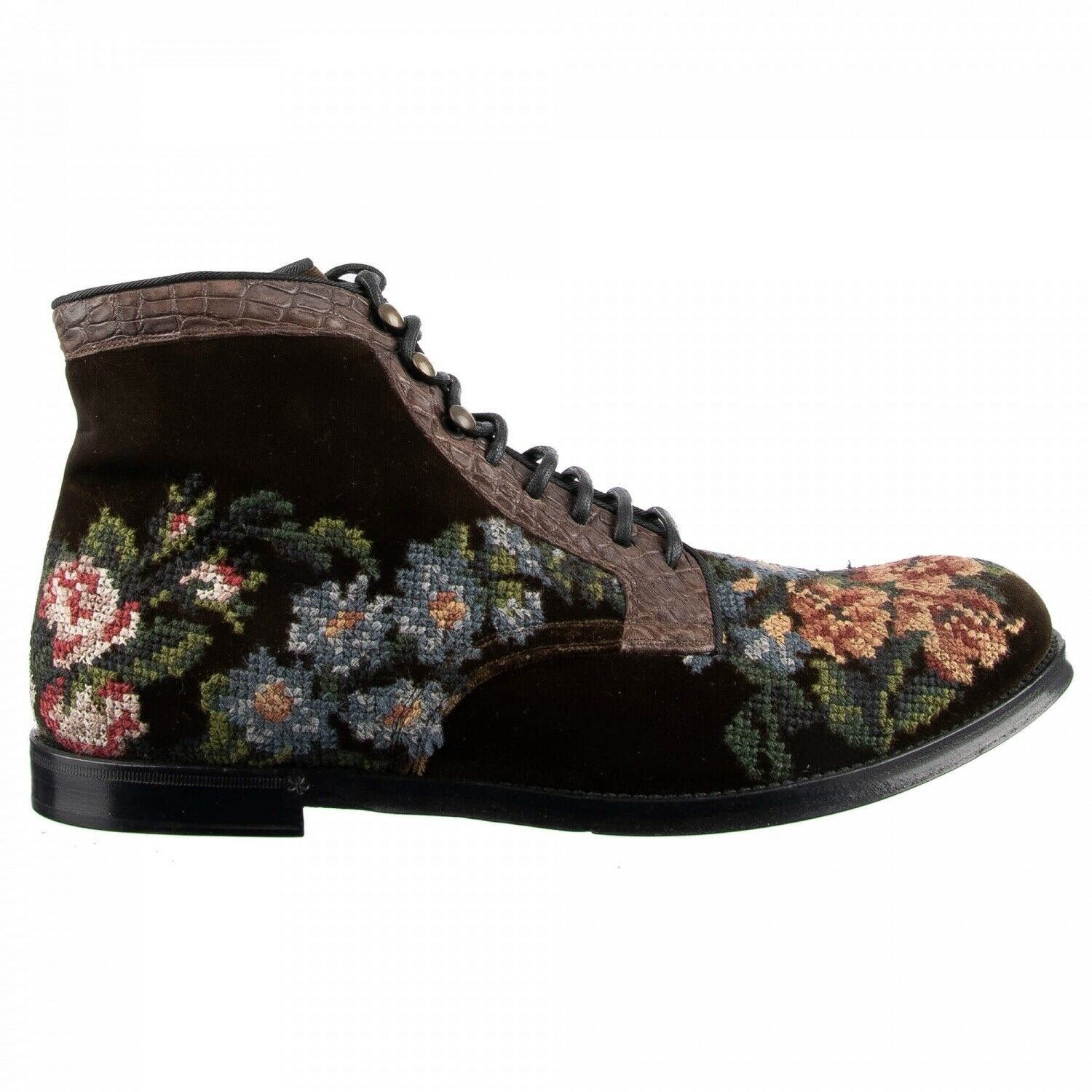 Dolce & Gabbana Velvet Croco Leather Boots Shoes Siracusa Embroidery Braun 44