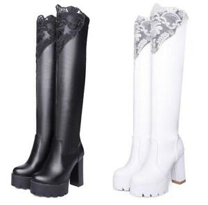 Womens-Lace-Over-Knee-Boots-Round-Toe-High-Heel-Long-Boot-Platform-Shoes-Pull-On