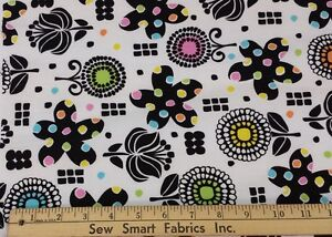 100-Cotton-Black-flowers-w-Color-on-White-Background-56-034-W-3-yd-Piece
