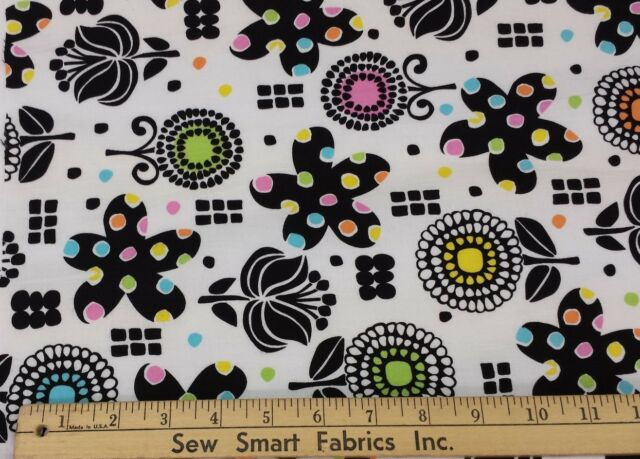 100% Cotton: Black flowers w/Color on White Background; 56