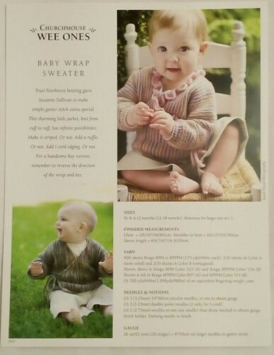 Churchmouse Wee Ones Baby Wrap Sweater pattern garter jacket 6-18 months Knit