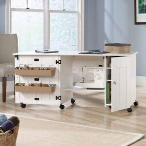 Sewing Crafts Hobby Furniture Cabinet Drop Leaf Storage Table Sauder White Ebay