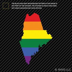 Maine State Shaped Gay Pride Rainbow Flag Sticker Vinyl Decal LGBT - Custom vinyl decals maine