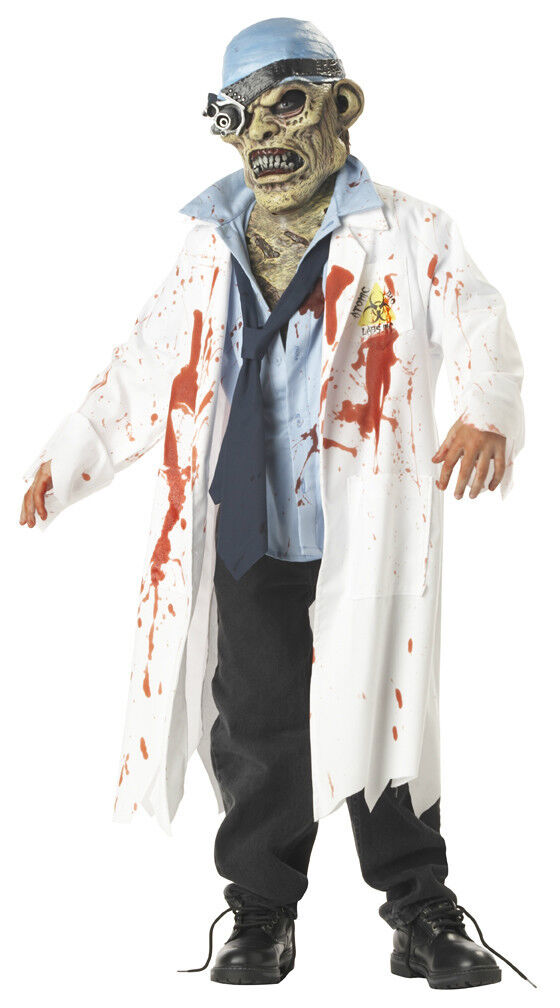 bloody freaky scary zombie lab tech w   mask costume