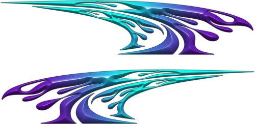 2 stickers auto flaming 180x40cm Purple