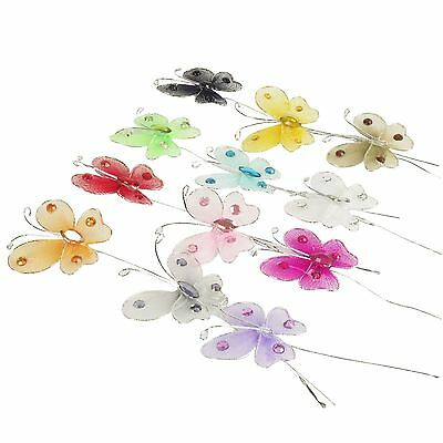 10x Mini Artificiale Organza Farfalla Picks Per Card Craft-