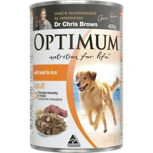 Optimum Beef & Rice Wet Dog Food Can Adult 400g