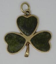 RARE VINTAGE IRISH H/M 9CT GOLD SHAMROCK CLOVER CONNEMARA MARBLE CHARM C1967