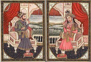 Mughal-Miniature-Art-Emperor-Shah-Jahan-Empress-Mumtaz-Mahal-Handmade-Painting